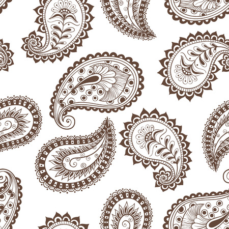 Vector illustration hand-drawing seamless pattern paisley Indian cucumber style. Oriental backdrop textile background. Floral ornament Coloring for adult.