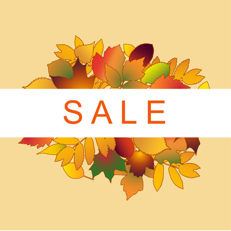 Vector illustration isolated autumn concept foliage sale banner. The inscription is surrounded by yellow leaf Illustration
