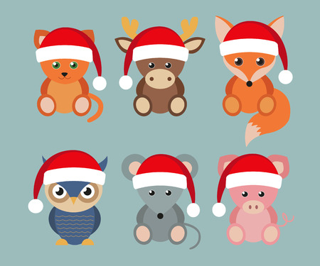 Set of funny animals in Santa hats, Christmas and New Year holidays in the flat style. Lovely cartoon style.