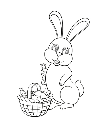 Vector illustration Coloring for kids with rabbit to collect mushrooms and carrots. Blank outline in the book for children background