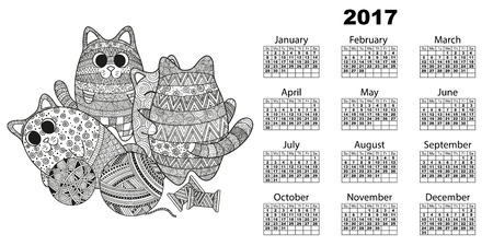 Vector illustration of horizontal 2017 calendar with cats, kittens doodle style boho zentagle cuddling and playing with balls of yarn threads. Black and white background with swirls and lines