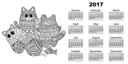 Vektor-Illustration von horizontal 2017 Kalender mit Katzen, kritzeln Kätzchen Stil boho zentagle Kuscheln und mit Wollknäuel Fäden zu spielen. Schwarzer und weißer Hintergrund mit Strudeln und Linien