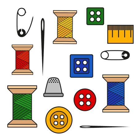 Vector illustration of a set of tools for sewing and needlework spool thread needle button pin and more. Color illustration with black outline isolated for a tailor and a seamstress Illustration