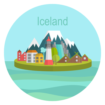 cascade mountains: vector illustration Island country Iceland Landmark Global Travel And Design template Journey Infographic. Postcard for tourism sign icon