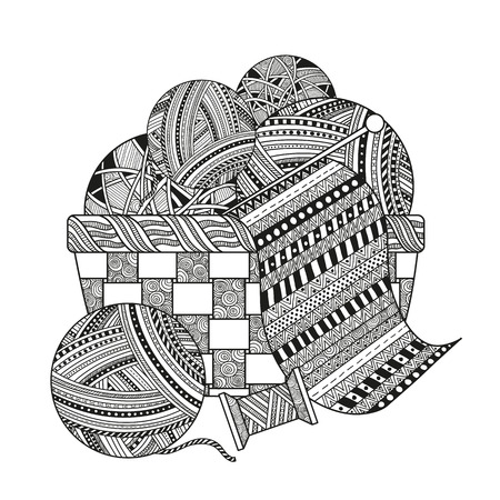 Stock Vector Coloring for adults with a ball of yarn, thread and knit a scarf in a wicker basket. Black-and-white pattern doodle