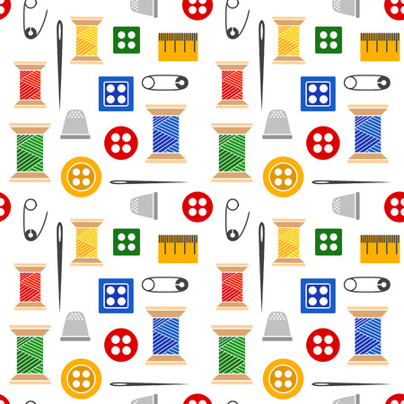 seamstress: Vector illustration seamless pattern of a set of tools for sewing and needlework spool thread needle button pin and more. Color illustration with black outline isolated for a tailor and a seamstress