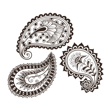 Vector illustration hand-drawing set paisley Indian cucumber style. Oriental backdrop textile background. Floral ornament Coloring for adult.