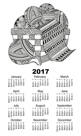 Vector illustration of vertical 2017 calendar with a ball of yarn, thread and knit a scarf in a wicker basket boho zentagle. Black and white background pattern with swirls and lines
