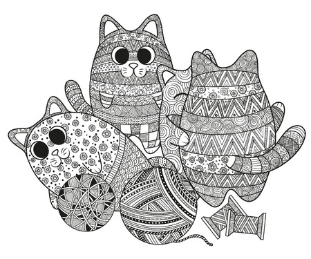 Vector illustration set of boho doodle cats pattern hand drawing, coloring for adults. Cats hug, lie down, stand. Zentangle style design elements