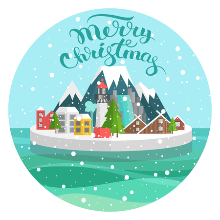 Vector illustration of a happy new year, christmas snow globe with lettering. Island in the sea with mountains. Travel Festival, a celebration of winter. Postcard congratulation in a flat style.