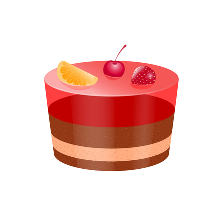 Vector illustration icon cake with jelly and fruit berries isolated on a white background. Delicious cake, for mobile applications, advertising, postcards app Illustration
