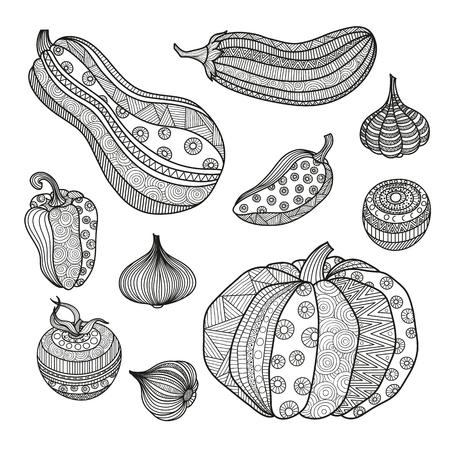 Jeu d'illustration vectorielle de légumes pour les livres à colorier pour les adultes. Page Krizko à colorier. Modèle d'ornement Boho zentangl crop doodle. Dessin à main orné. Potiron aubergine tomate oignon ail paprika. Banque d'images - 69238728