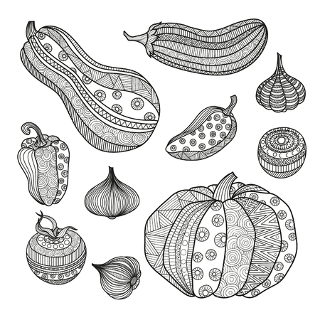 Vector illustration set of vegetables for coloring books for adults. Page Krizko coloring. Boho zentangl crop doodle ornament pattern. Ornate hand-drawing. Pumpkin eggplant tomato onion garlic paprika.