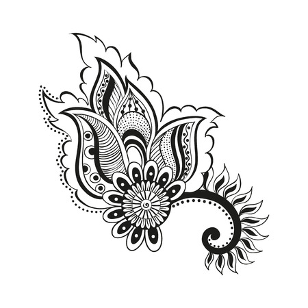 illustration doodle boho flower oriental meditation indian isolated object. Coloring for adults. ethnic floral ornament. Abstract pattern in Indian style for the mehendi and tattoo