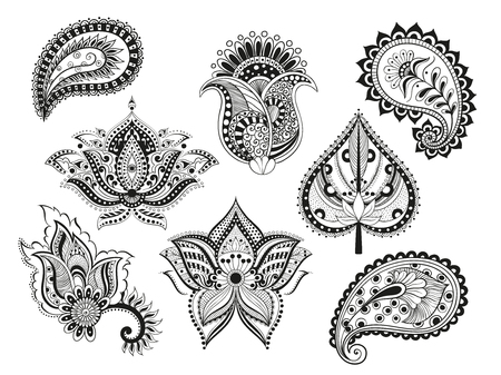illustration set doodle boho flower paisley oriental meditation indian isolated object. Isolated Coloring for adults. ethnic floral ornament. Abstract pattern in Indian style for the mehendi and tattoo Illustration