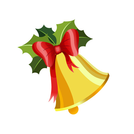 illustration Gold Christmas bell with a red ribbon with holly. Merry xmas Happy New Year. Isolated on white background celebration holiday icon