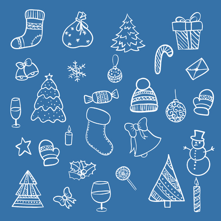 illustration Set hand-drawing Doodle merry christmas elements happy new year holiday celebration Christmas ball knitted clothes, sweet bell snowman Christmas tree gift xmas