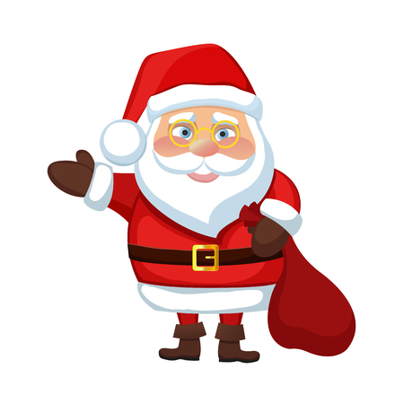 illustration Santa Claus happy new year merry Christmas waves a hand, welcomes and smiles, holding a bag with gifts icon celebration of the holiday December xmas Illustration