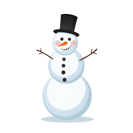 illustration of winter snowman in a top hat carrot hand branch. Holiday new year, christmas icon merry xmas isolated object on a white background December January February merry xmas