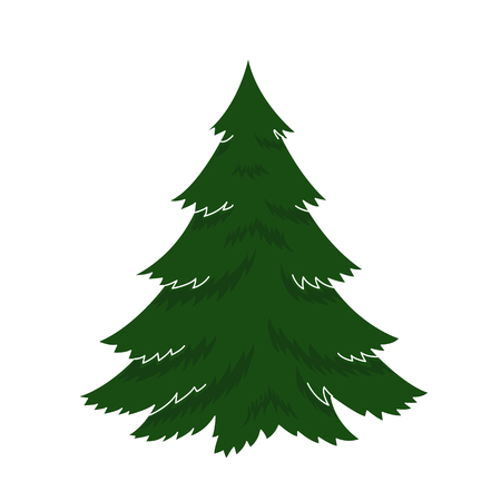 illustration happy new year Christmas Tree December holiday celebrations. Isolated object on a white background, green, winter merry xmas