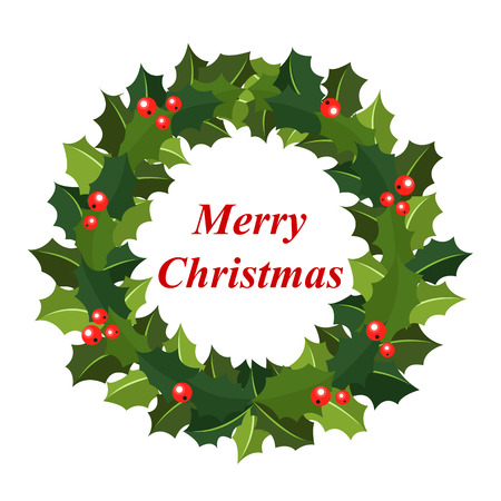 illustration Christmas wreath of holly with red berries. Green leaf with a greeting Merry Christmas text. Icon isolated on white background. New Year holiday celebration in December Illustration
