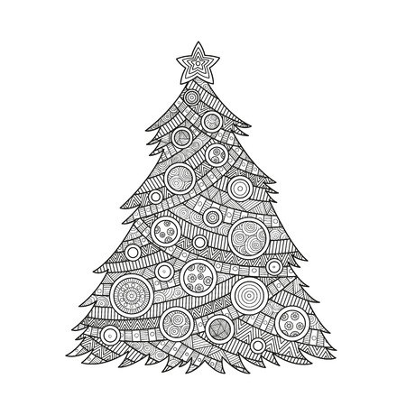 illustration coloring for adults Christmas tree coloring ink with Christmas balls and a star.  pattern ornament , happy new year holiday celebration in December merry xmas