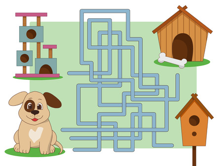 illustration a maze for childrens educational board games, a dog looking for a home. Entangled think.