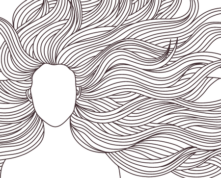 illustration beauty girl with very long hair. A woman model, fashion beauty salon. hairstyle. For signs, banners, advertisements, business cards