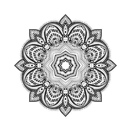 illustration Coloring for adults in the style of boho, mandala background. Floral Geometric outline drawing. Circular ornament point line. Illustration