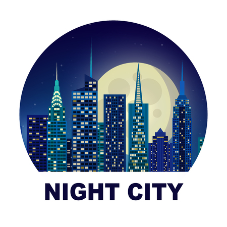 illustration of night city New York moonlight starry sky glow. apartment house background. Silhouette of city lights in the windows. Building skyscrapers metropolis.