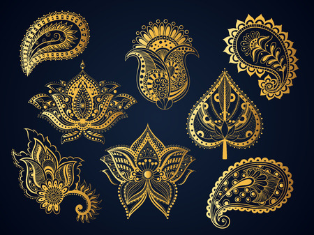 illustration set gold ornamental Indian elements Bohemian style. Boho tulip flower pattern, lotus flower, Paisley, leaf oriental meditation indian isolated object for the mehendi and tattoo Illustration