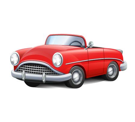 illustration retro red car
