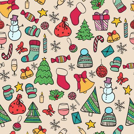illustration modèle sans couture Set.Doodle joyeux Noël des éléments joyeux nouvel an vacances fête Noël boule vêtements tricotés, bonhomme de neige bonhomme de neige cadeau de Noël arbre de Noël