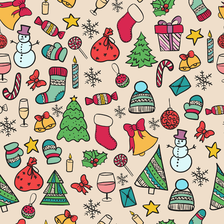 illustration seamless pattern Set.Doodle merry christmas elements happy new year holiday celebration Christmas ball knitted clothes, sweet bell snowman Christmas tree gift xmas Ilustração