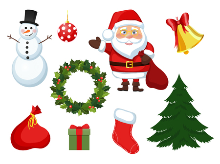 illustration Christmas set of new year elements objects in a cartoon style flat. Stickers for the holiday Santa Claus snowman, wreath of holly Christmas ball bell.