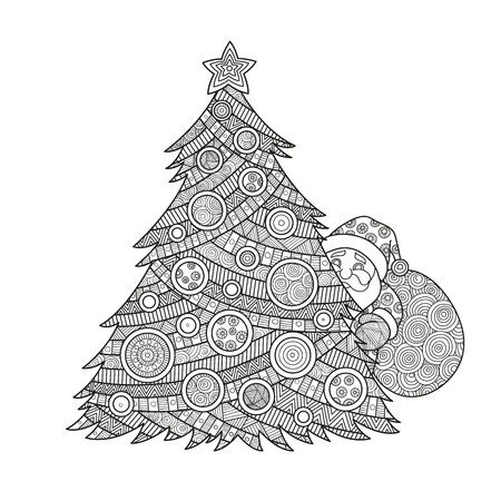 illustration coloring for adults Christmas tree Santa Claus coloring ink with Christmas balls and a star. pattern ornament , happy new year holiday celebration in December merry xmas