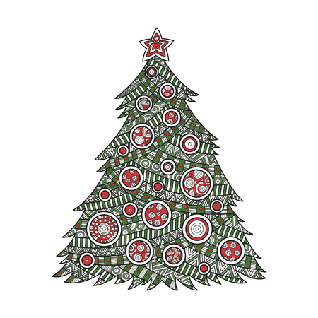 illustration color coloring for adults Christmas tree coloring ink with Christmas balls and a star.  pattern ornament , happy new year holiday celebration in December merry xmas