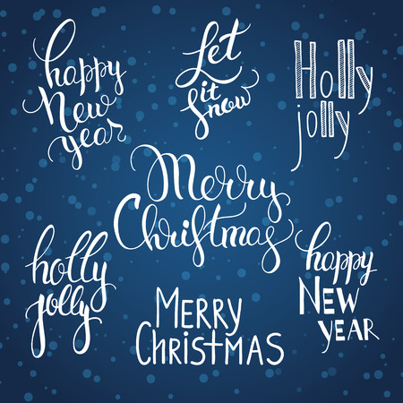 illustration of a set of calligraphy lettering with greetings Merry Christmas, Happy New Year. Quotes holiday celebration. On a blue background snow snowflakes Illustration