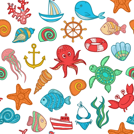 Illustration doodle set seamless pattern of elements of marine life. Underwater World collection. Icons and symbols sketch textiles color Illustration