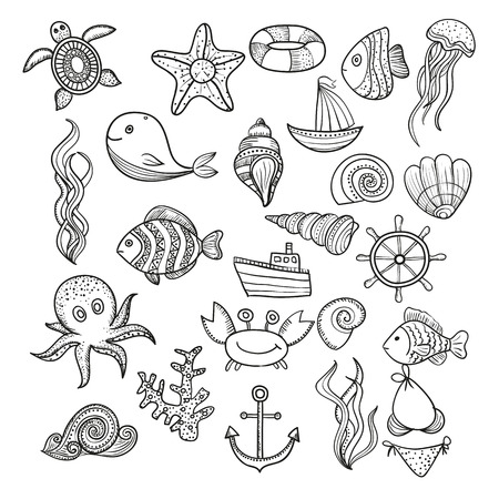 Illustration doodle set of elements of marine life. Underwater World collection. Icons and symbols sketch