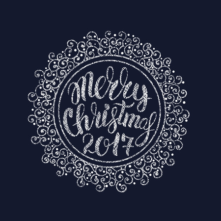 illustration Christmas ball with greeting Merry Christmas 2017. Calligraphy lettering against a dark background. The circular pattern with ornate pattern for greeting cards, invitations