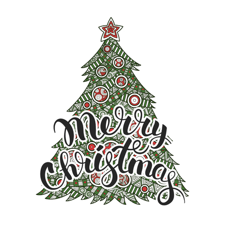 illustration Christmas tree congratulating calligraphy lettering Merry Christmas with Christmas balls and a star.  pattern ornament zentagle, happy new year holiday celebration in December merry xmas
