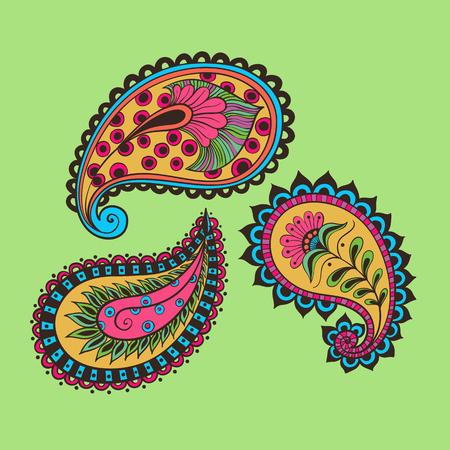 illustration set paisley Indian cucumber style. Oriental backdrop textile background. Floral ornament Color.