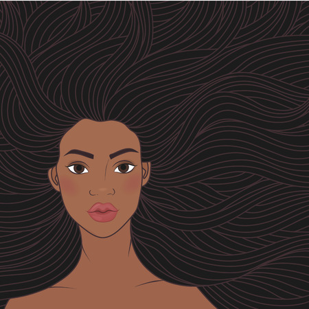 illustration African beauty girl with very long hair. A woman model, fashion beauty salon. African-American hairstyle. For signs, advertisements, business cards Illustration