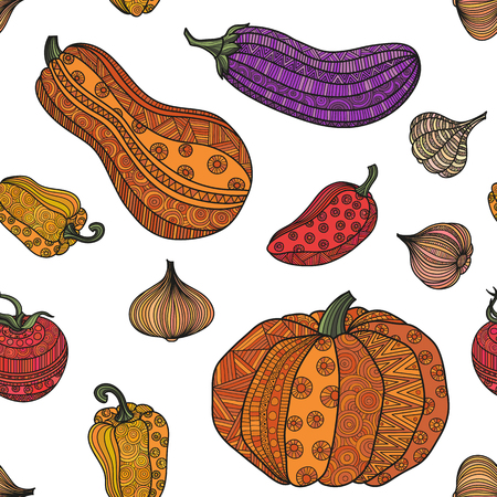 illustration color seamless pattern of vegetables. Boho crop doodle ornament. Ornate hand-drawing. Pumpkin eggplant tomato onion garlic paprika.