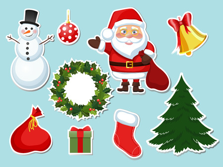 illustration sticker Christmas set of new year elements objects in a cartoon style flat. Stickers for the holiday Santa Claus snowman, wreath of holly Christmas ball bell.