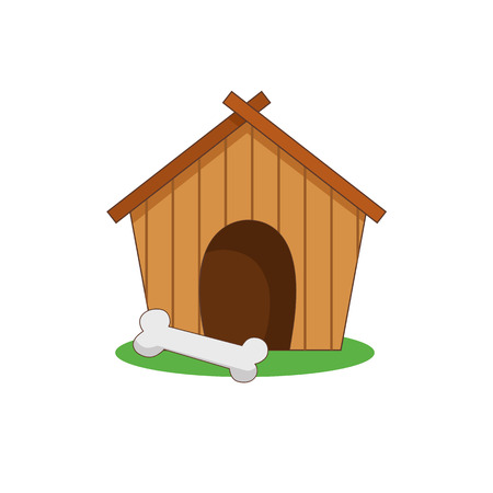 doghouse: illustration of a dog house kennel on the grass with a bone. Icon color.