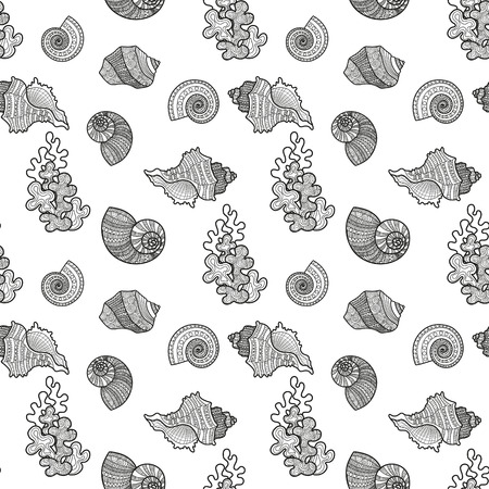 Seamless pattern sea shell. illustration engraving vintage illustrations. drawn sketch coloring marine life background textile