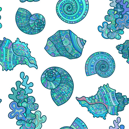 Seamless pattern sea shell. illustration engraving vintage illustrations. drawn sketch blue color marine life background textile