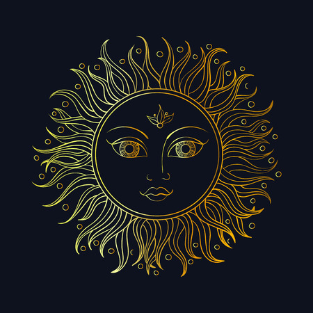 illustration coloring adult ethnic sun ornament. Abstract pattern in Indian style for the gold boho mehendi and tattoo